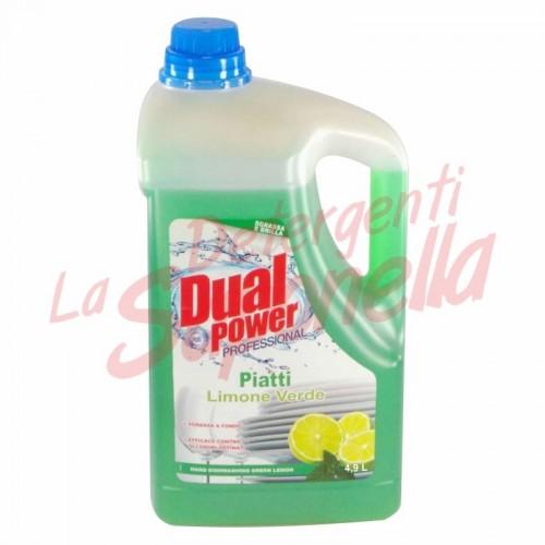 Detergent de vase Dual Power Professional cu lamaie verde 4,9 L