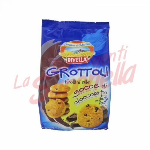 "Biscuiti Divella ""Grottoli"" cu bucati de ciocolata si oua proaspete 400 g"