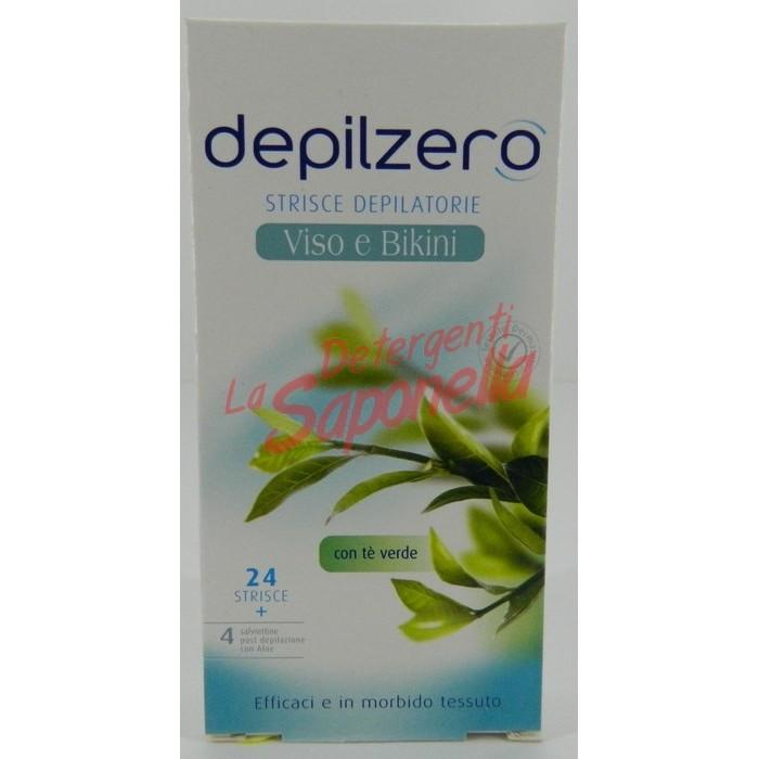 Benzi depilatoare Depilzero fata si bikini cu ceai verde 24 benzi+4 servetele post-depilare