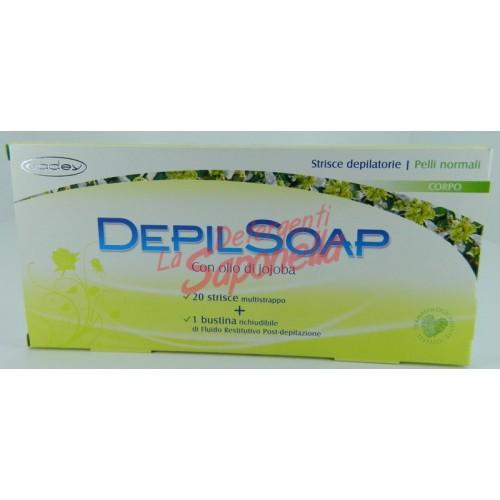 Benzi depilatoare Depilsoap pentru corp cu ulei de jojoba pebtru piele normala 20 benzi+ 1 fluid restructurant post-depilare
