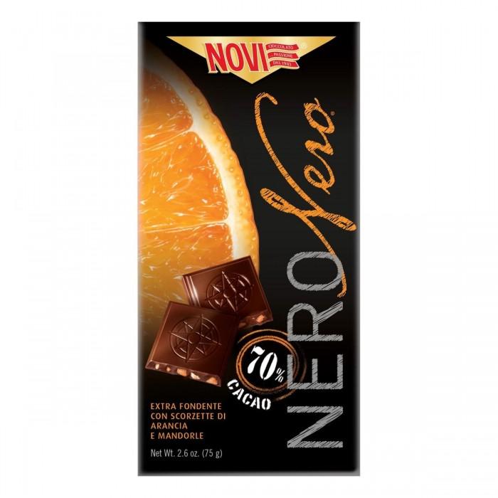 Ciocolata neagra Novi cu portocale si migdale 75 g