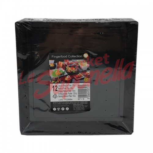 GoldPlast farfuri de plastic negre-130cc-12 bucati