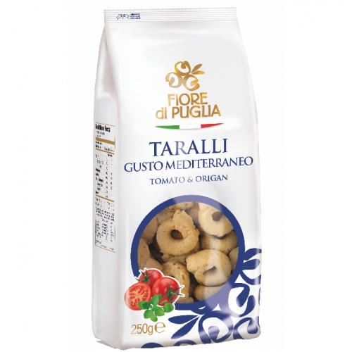 Covrigei Taralli Fiore di Puglia gust mediteranean cu rosii si oregano 250gr