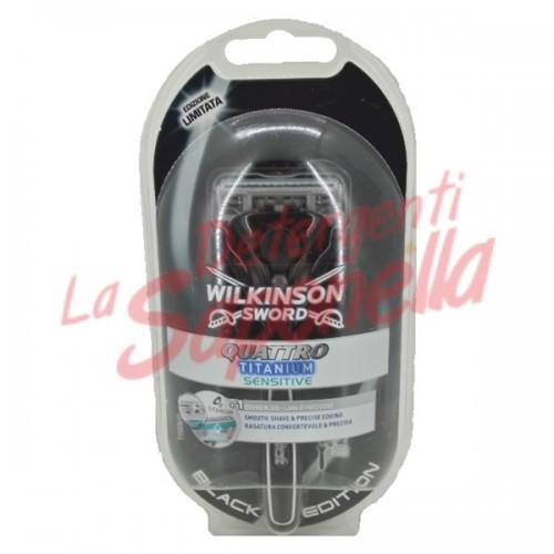 Aparat de ras Quattro Titanium Sensitive + 2 rezerve Wilkinson