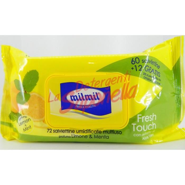 Servetele umede Milmil multifunctionale cu extract de aloe vera si parfum de lamaie & menta-72 bucati