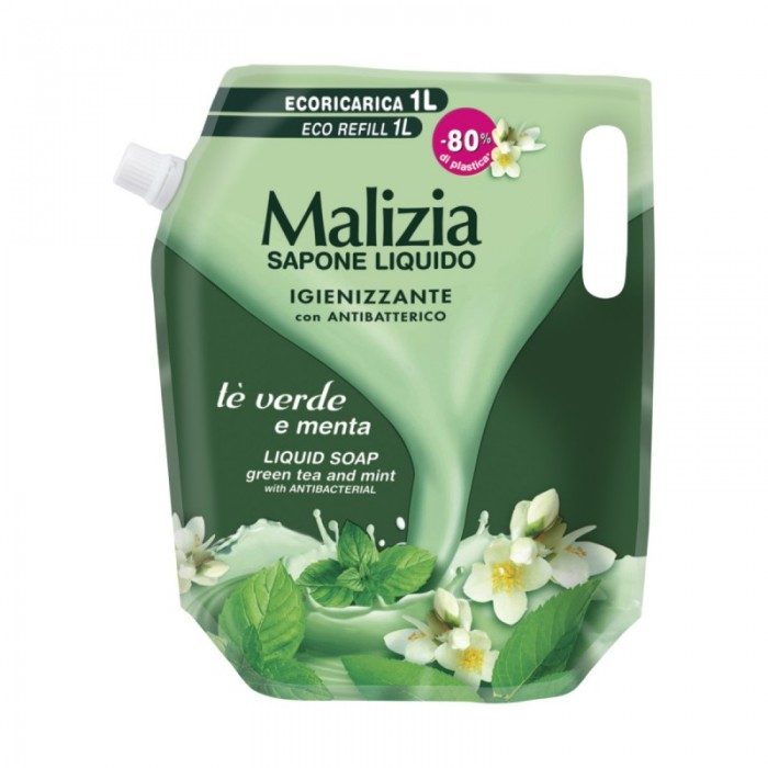 Rezerva sapun lichid Malizia cu ceai verde si menta 1 lt