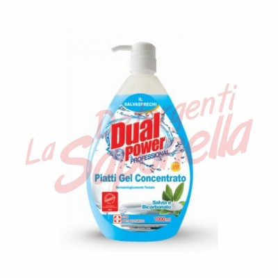 Detergent de vase Dual Power Profesional gel-salvie si bicarbonat 1000 ml