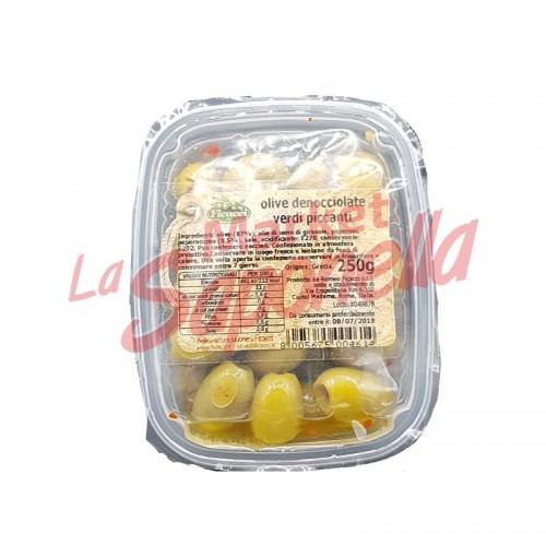 Masline verzi Ficacci fara samburi picante 250 gr